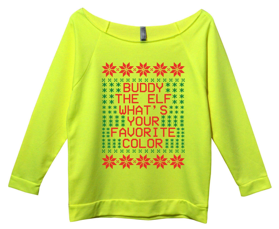 Buddy the Elf Whats Your Favorite Color Womens 3/4 Long Sleeve Vintage Raw Edge Shirt Small Womens Tank Tops Neon Yellow