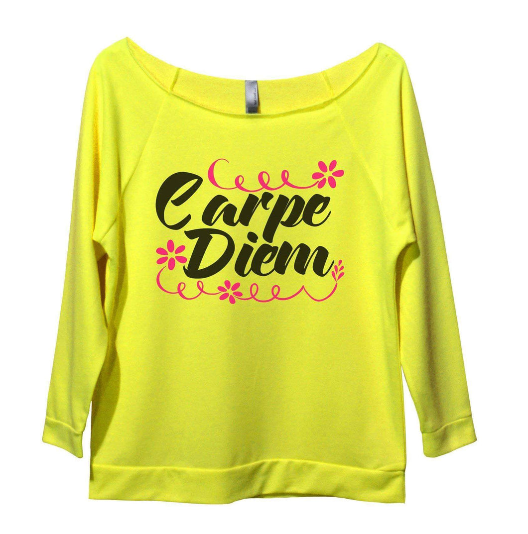 Carpe Diem Womens 3/4 Long Sleeve Vintage Raw Edge Shirt Small Womens Tank Tops Neon Yellow