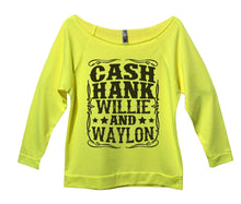 Cash Hank Willie And Waylon Womens 3/4 Long Sleeve Vintage Raw Edge Shirt Small Womens Tank Tops Neon Yellow