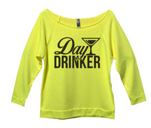 Day Drinker Womens 3/4 Long Sleeve Vintage Raw Edge Shirt Small Womens Tank Tops Neon Yellow