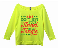 Don't Get Your Tinsel In A Tangle Womens 3/4 Long Sleeve Vintage Raw Edge Shirt Small Womens Tank Tops Neon Yellow