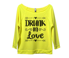 Drunk In Love Womens 3/4 Long Sleeve Vintage Raw Edge Shirt Small Womens Tank Tops Neon Yellow
