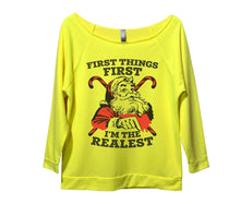 First Things First I'm The Realest Womens 3/4 Long Sleeve Vintage Raw Edge Shirt Small Womens Tank Tops Neon Yellow