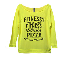 Fitness? More Like Fitness Whole Pizza In My Mouth Womens 3/4 Long Sleeve Vintage Raw Edge Shirt Small Womens Tank Tops Neon Yellow