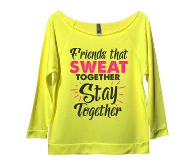 Friends That Sweat Together Stay Together Womens 3/4 Long Sleeve Vintage Raw Edge Shirt Small Womens Tank Tops Neon Yellow