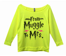 From Muggle To Mrs Womens 3/4 Long Sleeve Vintage Raw Edge Shirt Small Womens Tank Tops Neon Yellow