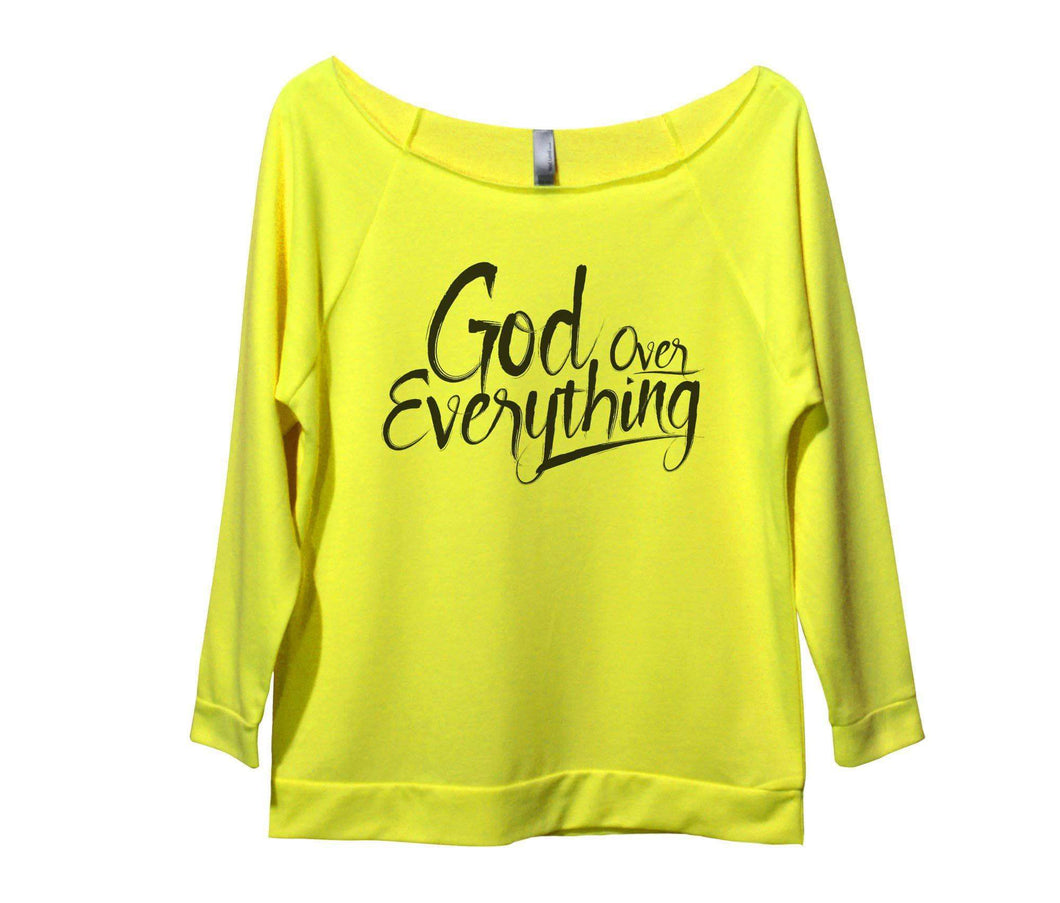 God Over Everything Womens 3/4 Long Sleeve Vintage Raw Edge Shirt Small Womens Tank Tops Neon Yellow