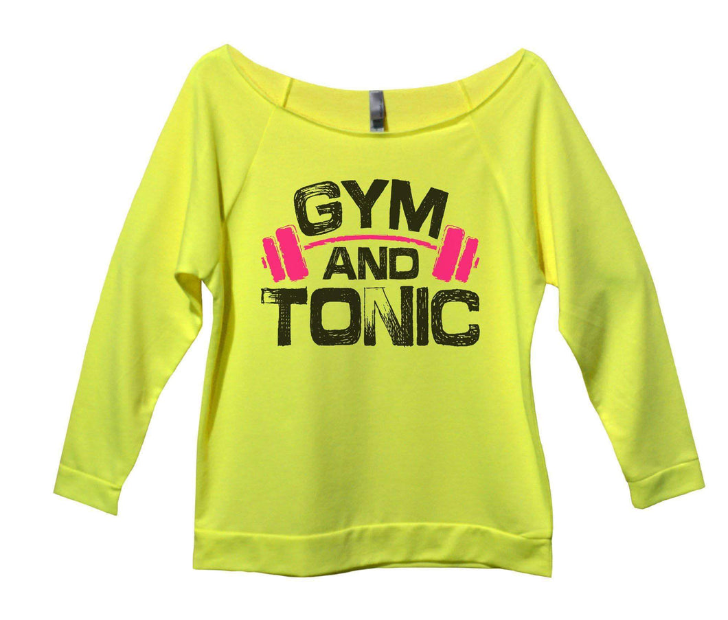 Gym And Tonic Womens 3/4 Long Sleeve Vintage Raw Edge Shirt Small Womens Tank Tops Neon Yellow