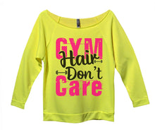 Gym Hair Don't Care Womens 3/4 Long Sleeve Vintage Raw Edge Shirt Small Womens Tank Tops Neon Yellow