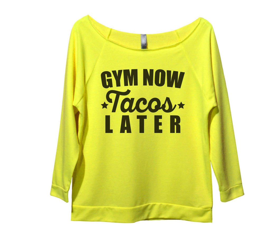 Gym Now Tacos Later Womens 3/4 Long Sleeve Vintage Raw Edge Shirt Small Womens Tank Tops Neon Yellow