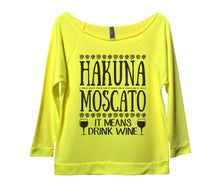 Hakuna Moscato It Means Drink Wine Womens 3/4 Long Sleeve Vintage Raw Edge Shirt Small Womens Tank Tops Neon Yellow