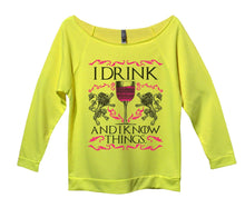 I Drink And I Know Things Womens 3/4 Long Sleeve Vintage Raw Edge Shirt Small Womens Tank Tops Neon Yellow