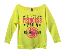 I'm Not A Princess I'm A Khaleesi Womens 3/4 Long Sleeve Vintage Raw Edge Shirt Small Womens Tank Tops Neon Yellow