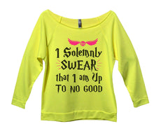 I Solemnly Swear That I Am Up To No Good Womens 3/4 Long Sleeve Vintage Raw Edge Shirt Small Womens Tank Tops Neon Yellow