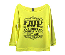If Found Return To Nearest Country Music Festival! Womens 3/4 Long Sleeve Vintage Raw Edge Shirt Small Womens Tank Tops Neon Yellow