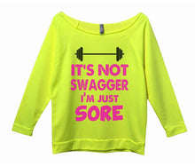 It's Not Swagger I'm Just Sore Womens 3/4 Long Sleeve Vintage Raw Edge Shirt Small Womens Tank Tops Neon Yellow