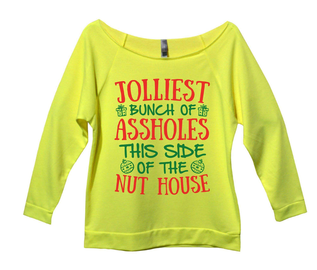 Jolliest Bunch Of Assholes This Side Of The Nuthouse Womens 3/4 Long Sleeve Vintage Raw Edge Shirt Small Womens Tank Tops Neon Yellow