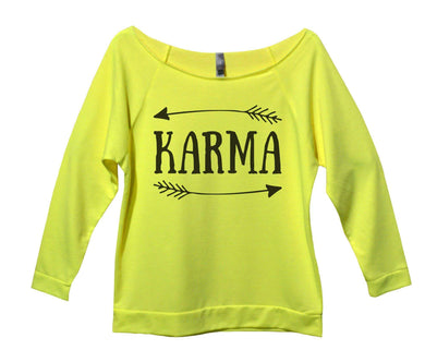 Karma Womens 3/4 Long Sleeve Vintage Raw Edge Shirt Small Womens Tank Tops Neon Yellow