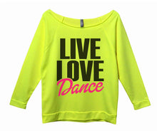 Live Love Dance Womens 3/4 Long Sleeve Vintage Raw Edge Shirt Small Womens Tank Tops Neon Yellow