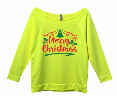 Merry Christmas Womens 3/4 Long Sleeve Vintage Raw Edge Shirt Small Womens Tank Tops Neon Yellow