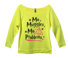 Mo Muggles Mo Problems Womens 3/4 Long Sleeve Vintage Raw Edge Shirt Small Womens Tank Tops Neon Yellow