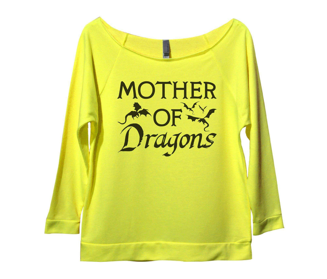 Mother Of Dragons Womens 3/4 Long Sleeve Vintage Raw Edge Shirt Small Womens Tank Tops Neon Yellow
