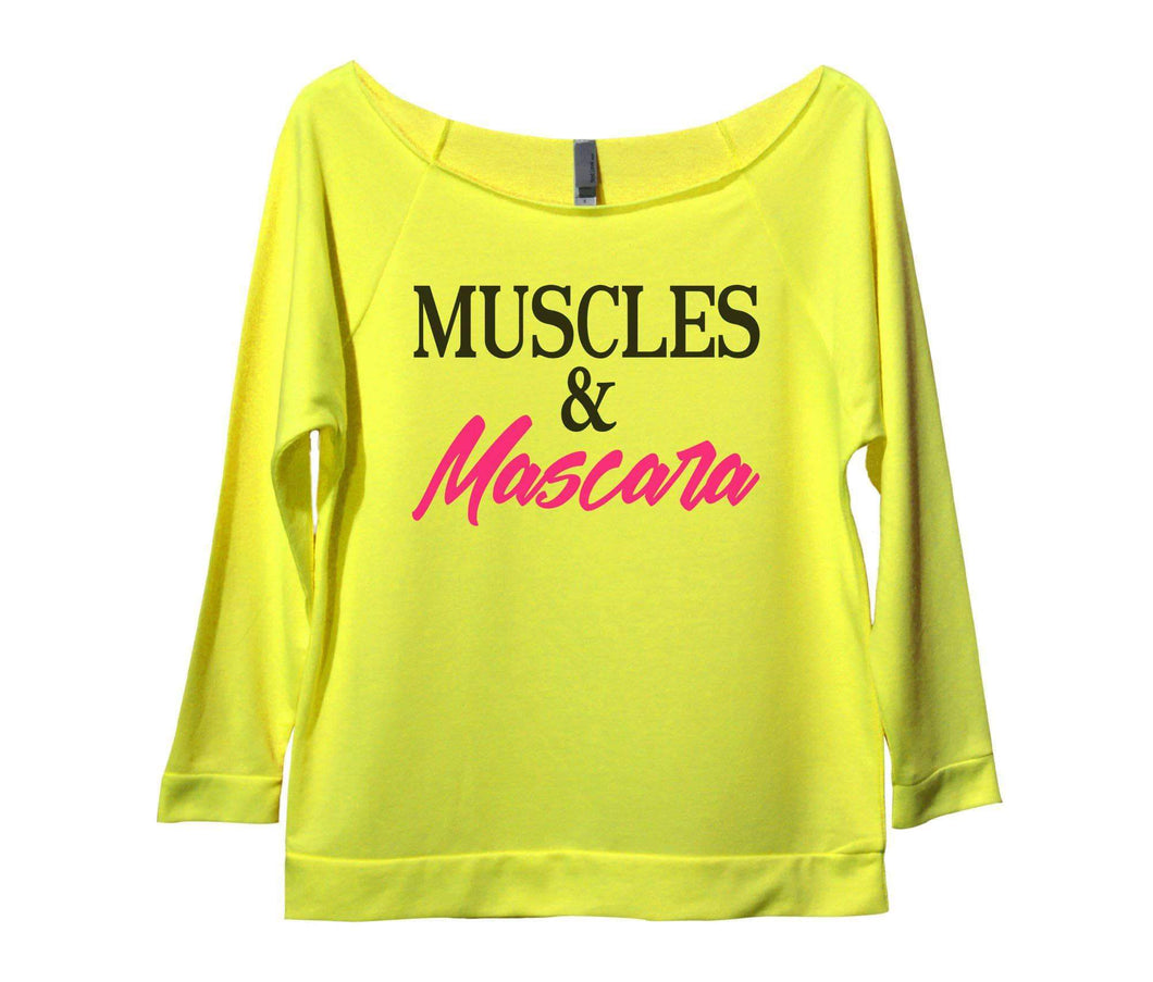 Muscles And Mascara Womens 3/4 Long Sleeve Vintage Raw Edge Shirt Small Womens Tank Tops Neon Yellow