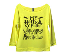 My Harry Potter Obsession Is A Bit Riddikulus Womens 3/4 Long Sleeve Vintage Raw Edge Shirt Small Womens Tank Tops Neon Yellow