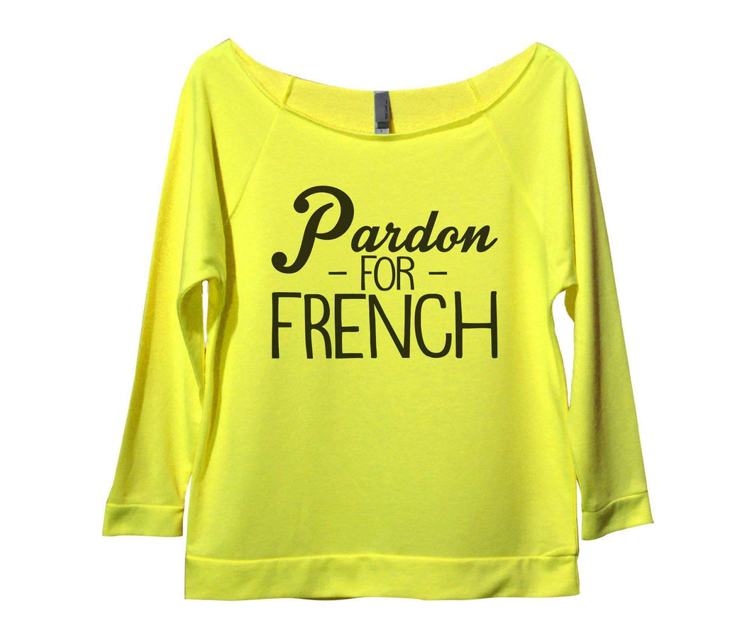Pardon For French Womens 3/4 Long Sleeve Vintage Raw Edge Shirt Small Womens Tank Tops Neon Yellow