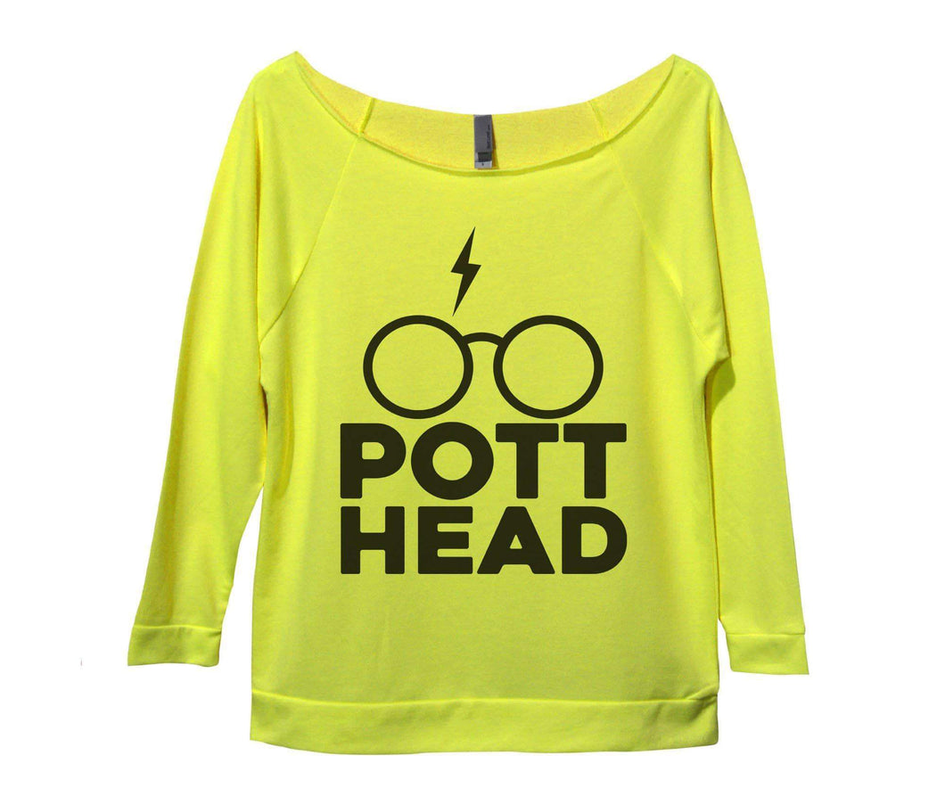 Pott Head Womens 3/4 Long Sleeve Vintage Raw Edge Shirt Small Womens Tank Tops Neon Yellow