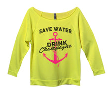 Save Water Drink Champagne Womens 3/4 Long Sleeve Vintage Raw Edge Shirt Small Womens Tank Tops Neon Yellow