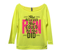 She Believed She Could Run So She Did Womens 3/4 Long Sleeve Vintage Raw Edge Shirt Small Womens Tank Tops Neon Yellow