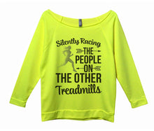 Silently Racing The People On The Other Treadmills Womens 3/4 Long Sleeve Vintage Raw Edge Shirt Small Womens Tank Tops Neon Yellow