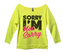 Sorry I'm Not Sorry Womens 3/4 Long Sleeve Vintage Raw Edge Shirt Small Womens Tank Tops Neon Yellow