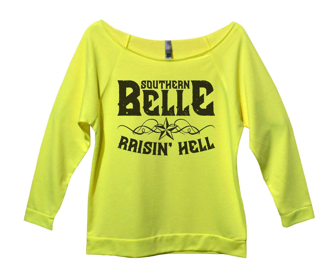 Southern Belle Raisin' Hell Womens 3/4 Long Sleeve Vintage Raw Edge Shirt Small Womens Tank Tops Neon Yellow