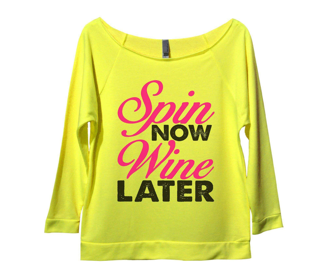 Spin Now Wine Later Womens 3/4 Long Sleeve Vintage Raw Edge Shirt Small Womens Tank Tops Neon Yellow