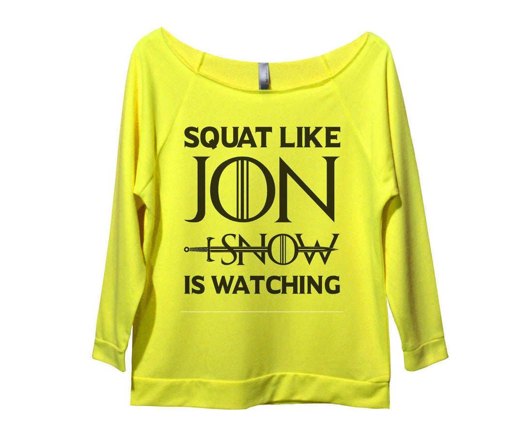 Squat Like Jon Snow Is Watching Womens 3/4 Long Sleeve Vintage Raw Edge Shirt Small Womens Tank Tops Neon Yellow