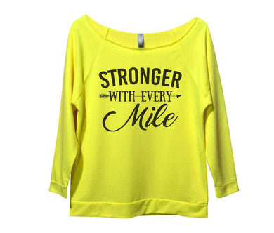 Stronger With Every Mile Womens 3/4 Long Sleeve Vintage Raw Edge Shirt Small Womens Tank Tops Neon Yellow