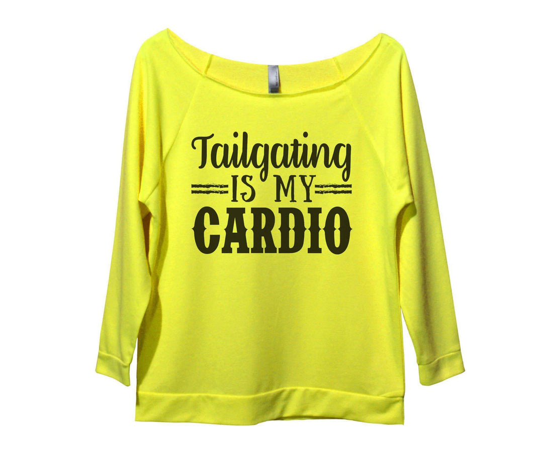 Tailgating Is My Cardio Womens 3/4 Long Sleeve Vintage Raw Edge Shirt Small Womens Tank Tops Neon Yellow