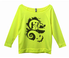 The Nightmare Before Christmas Womens 3/4 Long Sleeve Vintage Raw Edge Shirt Small Womens Tank Tops Neon Yellow