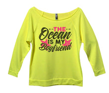 The Ocean Is My Boyfriend Womens 3/4 Long Sleeve Vintage Raw Edge Shirt Small Womens Tank Tops Neon Yellow
