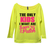 The Only Kids I Want Are Sour Patch Womens 3/4 Long Sleeve Vintage Raw Edge Shirt Small Womens Tank Tops Neon Yellow