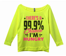 There's A 99.9% Chance I'm Hungry Womens 3/4 Long Sleeve Vintage Raw Edge Shirt Small Womens Tank Tops Neon Yellow