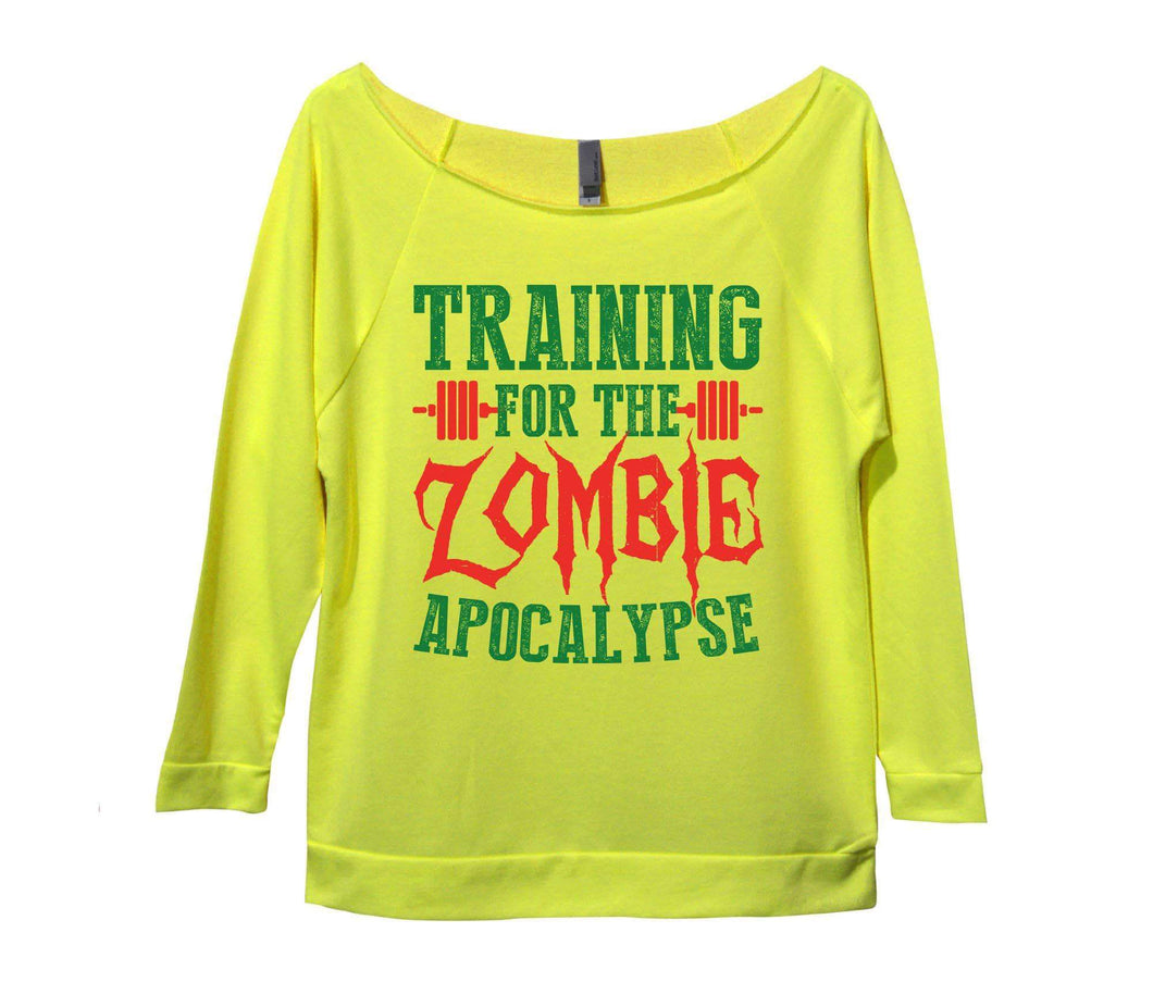 Training For The Zombie Apocalypse Womens 3/4 Long Sleeve Vintage Raw Edge Shirt Small Womens Tank Tops Neon Yellow