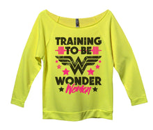 Training To Be Wonder Woman Womens 3/4 Long Sleeve Vintage Raw Edge Shirt Small Womens Tank Tops Neon Yellow