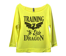 Training To Ride Dragon Womens 3/4 Long Sleeve Vintage Raw Edge Shirt Small Womens Tank Tops Neon Yellow