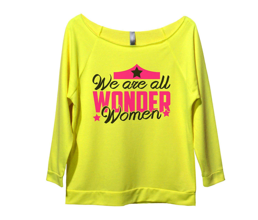 We Are All Wonder Women Womens 3/4 Long Sleeve Vintage Raw Edge Shirt Small Womens Tank Tops Neon Yellow