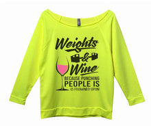 Weights And Wine Because Punching People Is Frowned Upon Womens 3/4 Long Sleeve Vintage Raw Edge Shirt Small Womens Tank Tops Neon Yellow