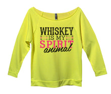 Whiskey Is My Spirit Animal Womens 3/4 Long Sleeve Vintage Raw Edge Shirt Small Womens Tank Tops Neon Yellow