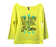 You Know Nothing Jon Snow Womens 3/4 Long Sleeve Vintage Raw Edge Shirt Small Womens Tank Tops Neon Yellow